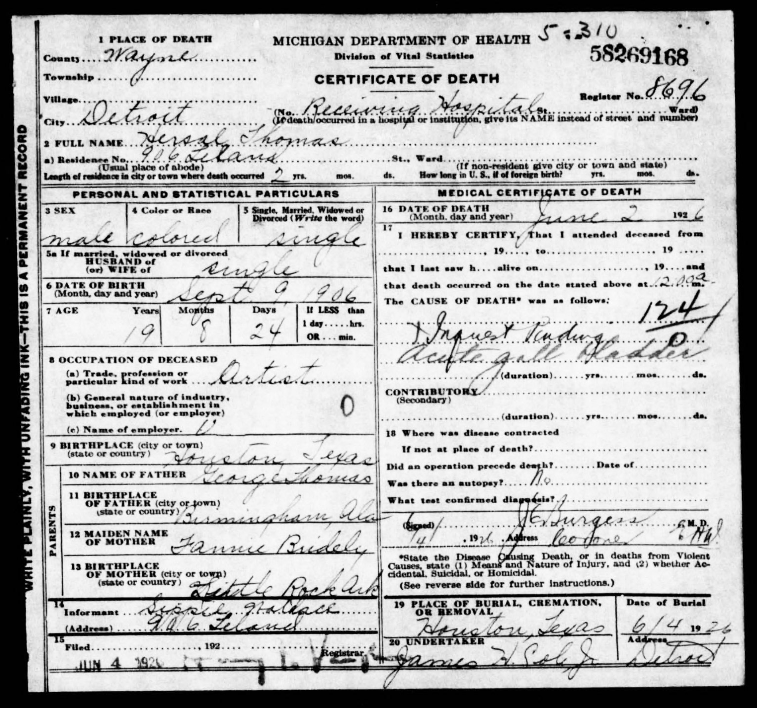 George and hersal thomas death certificate shows hersal as having been single with the information having been provided by sippie herself sippie also gave hersals date of xflitez Choice Image